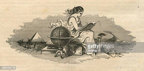 woman writing by world globe, antique 1871 illustration - history stock illustrations