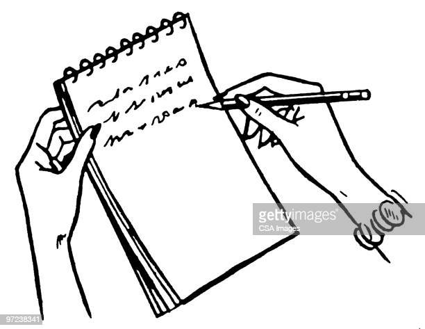 woman writing - report stock illustrations