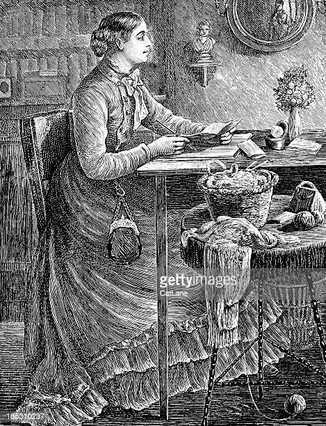 Woman Writing - Victorian Illustration