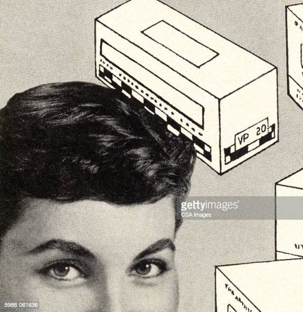 woman's face, boxes - staring stock illustrations