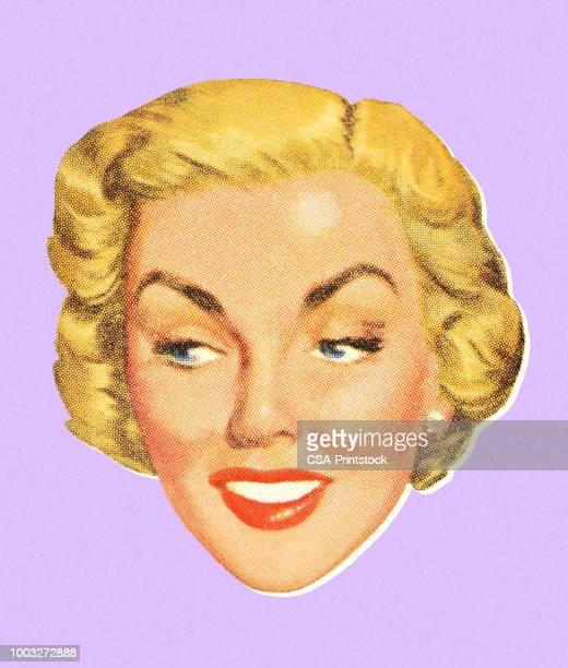 ilustrações de stock, clip art, desenhos animados e ícones de woman's face - loira