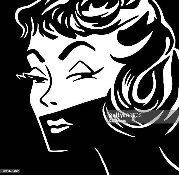 woman's face in shadow - seduction stock illustrations, clip art, cartoons, & icons