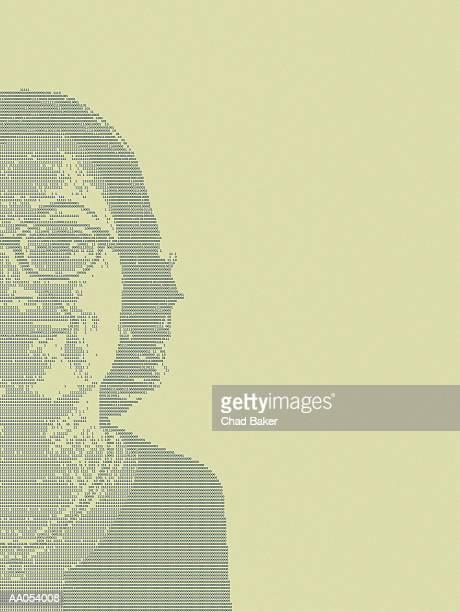 ilustraciones, imágenes clip art, dibujos animados e iconos de stock de woman's face represented in binary code of ones and zeros, portrait - mujeres de mediana edad