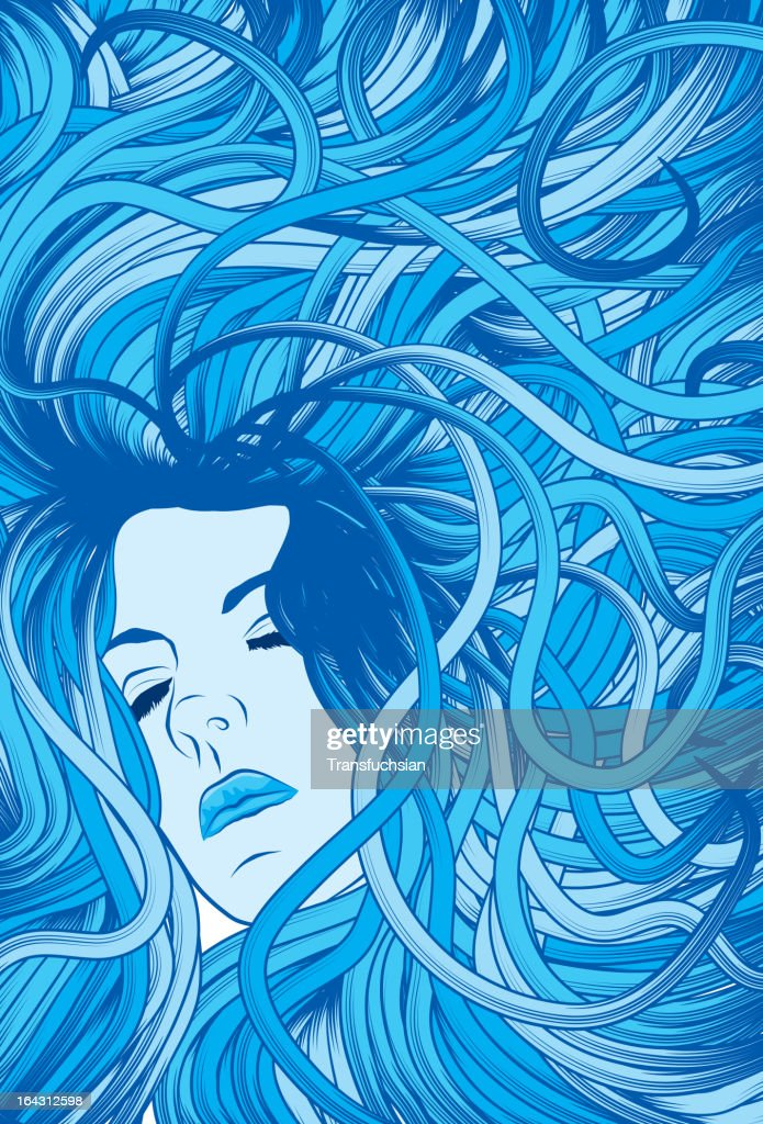 Woman's face with long detailed flowing blue hair