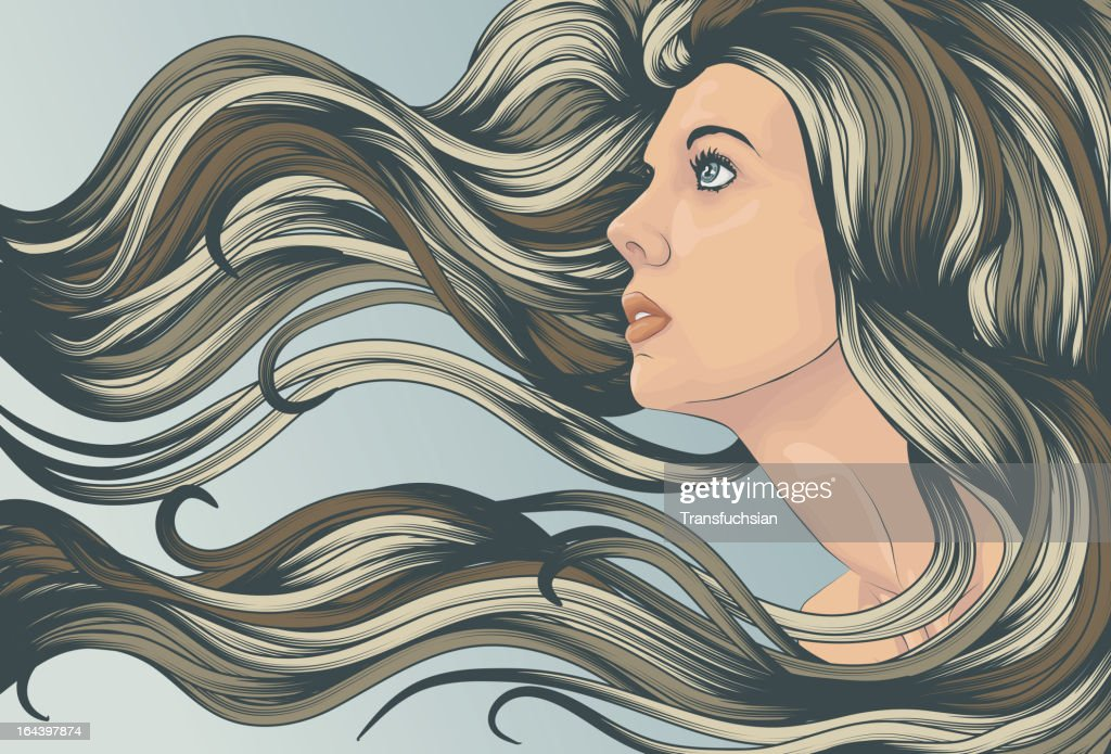 Woman's face with long detailed flowing hair