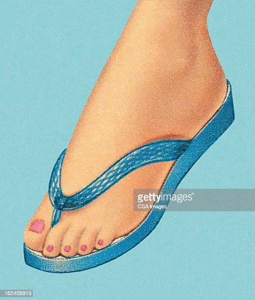 woman's foot wearing flip flop shoe - toe stock illustrations, clip art, cartoons, & icons