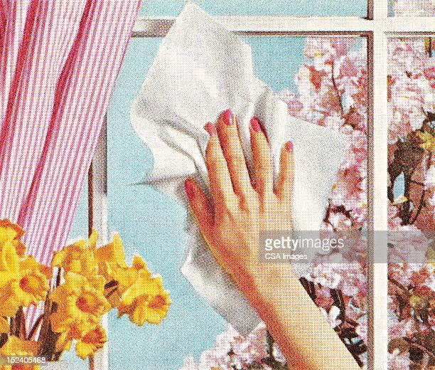 女性の手の洗浄ウィンドウ