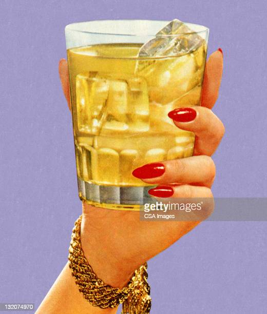 woman's hand holding drink - cocktail stock illustrations