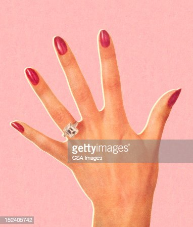 Womans Hand Wearing Engagement Ring Stock Illustration