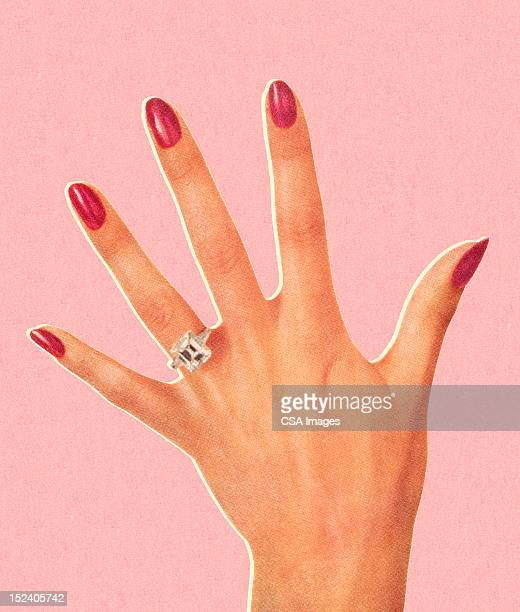 woman's hand wearing engagement ring - ring stock illustrations