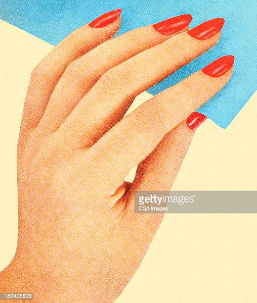 Womans Hand With Red Nail Polish
