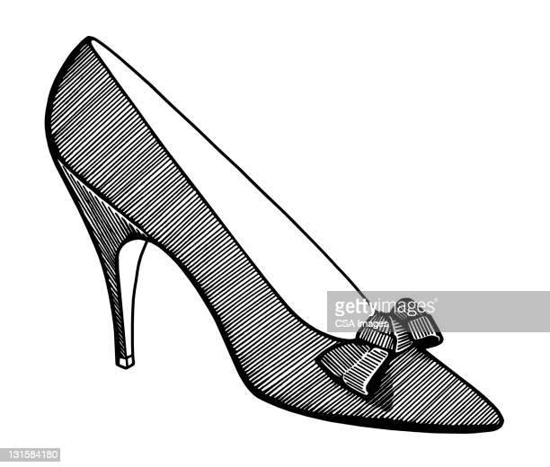 woman's high heel shoe - high heels stock illustrations