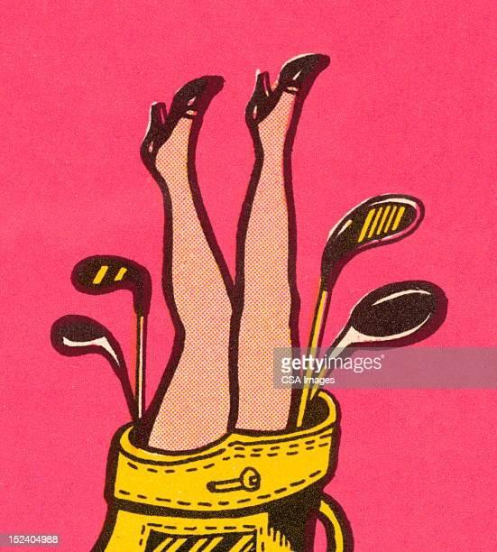 Woman's Legs in Golf Bag