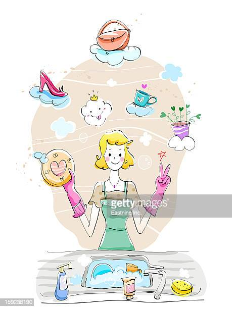 woman's life - washing up glove stock illustrations, clip art, cartoons, & icons