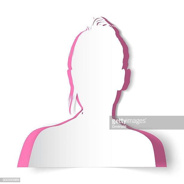 woman's paper silhouette avatar - cut or torn paper stock illustrations, clip art, cartoons, & icons