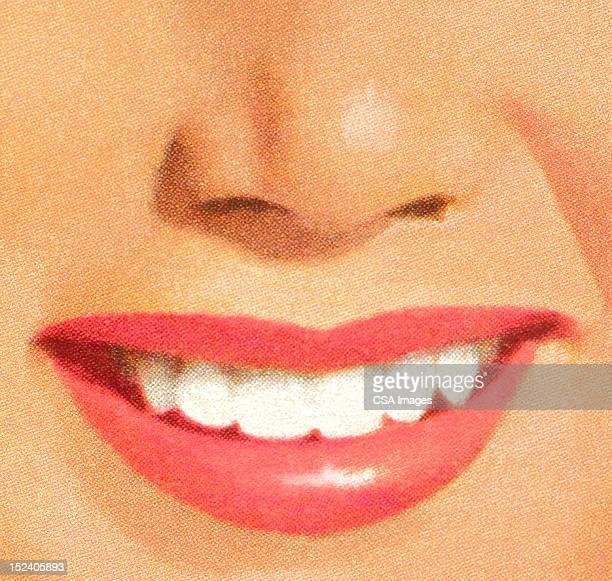 Woman's Pink Lipstick Smile