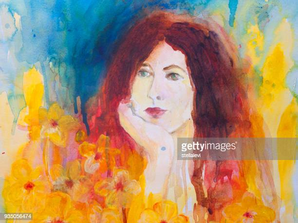 woman's portrait - watercolor painting. - stellalevi stock illustrations