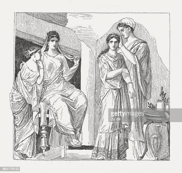 Woman's Toilette fresco (79 CE), Herculaneum, wood engraving, published 1884