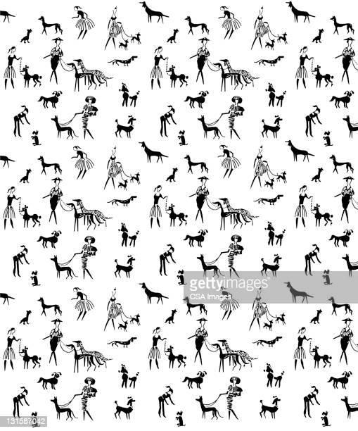 ilustraciones, imágenes clip art, dibujos animados e iconos de stock de women and dogs pattern - galgo