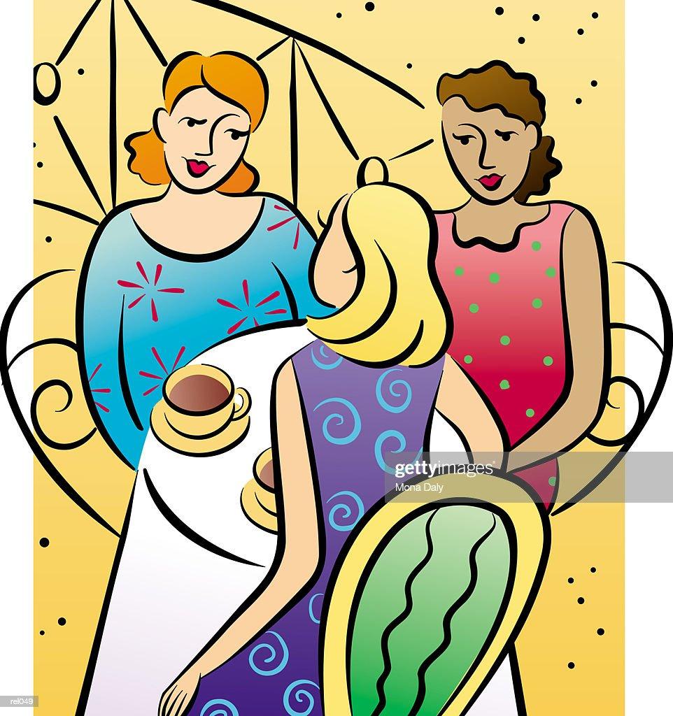 Women at Caf? : Ilustração de stock