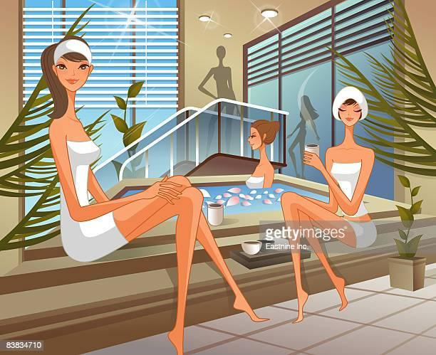 women at health spa - health spa stock illustrations, clip art, cartoons, & icons