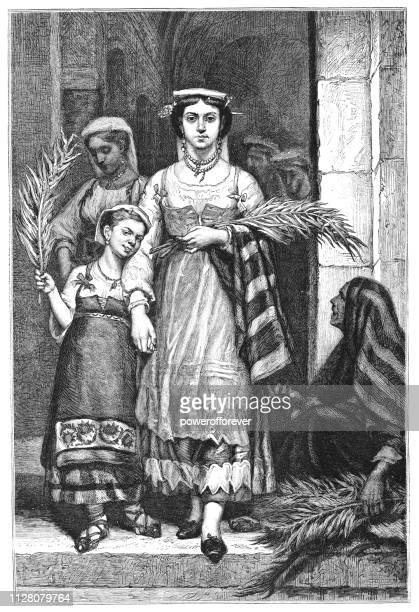 women carrying palm leaf branches on palm sunday - 19th century - palm sunday stock illustrations