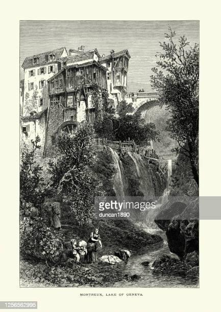 女性、モントルーの子供用ランドリー、ジュネーブ湖、スイス、19世紀 - モントルー点のイラスト素材/クリップアート素材/マンガ素材/アイコン素材