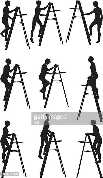 women climbing up a ladder - image technique stock illustrations