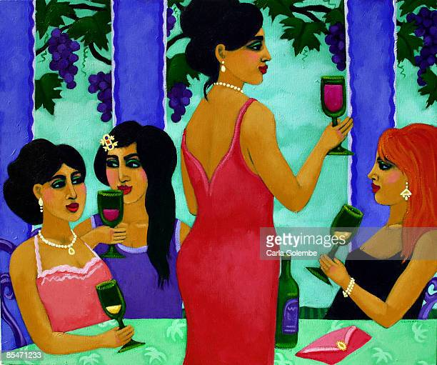Women drinking wine together