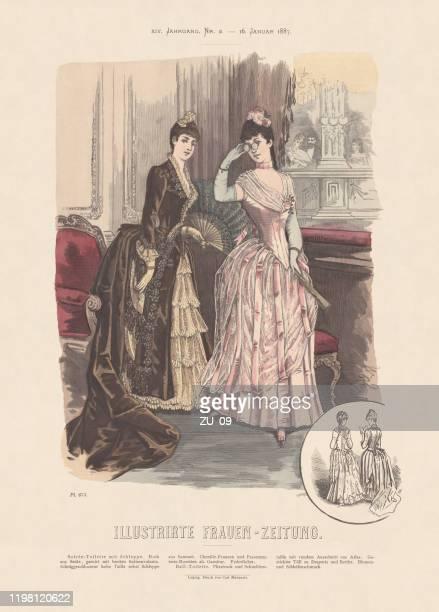 frauenmode, handkolorierte holzgravur, erschienen 1887 - neunzehntes jahrhundert stock-grafiken, -clipart, -cartoons und -symbole