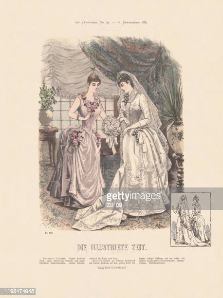 women fashion, hand-colored wood engraving, published in 1887 - wedding dress stock illustrations