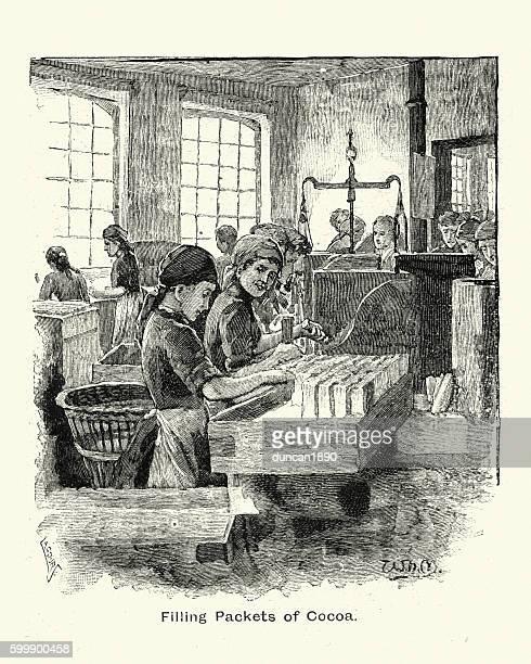 ilustraciones, imágenes clip art, dibujos animados e iconos de stock de women filling packets of cocoa at fry's chocolate factory, 1894 - chocolate caliente