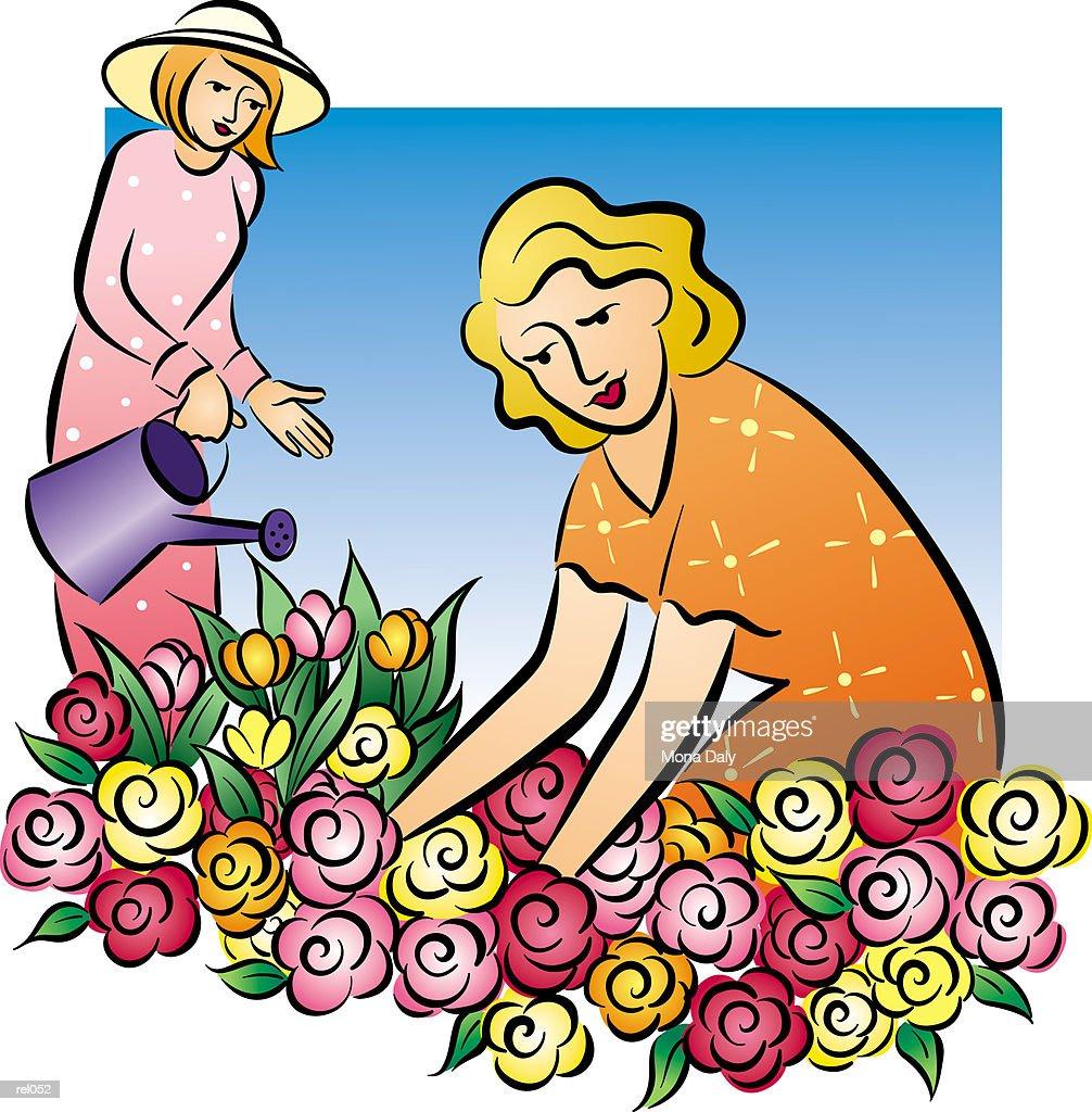 Women Gardening : Ilustração de stock