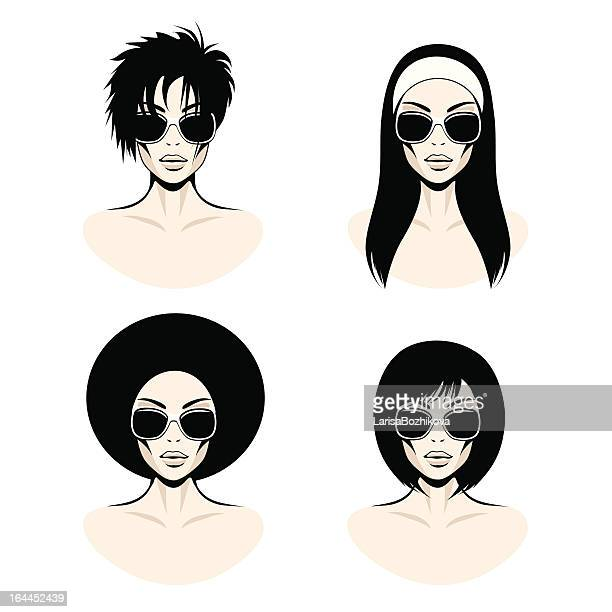 women hairstyles. - afro stock illustrations