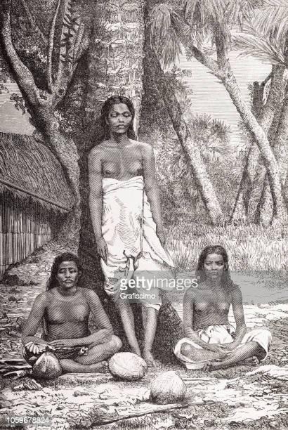 伝統的な服ポリネシア タヒチ 1870 イラスト女性 - タヒチ点のイラスト素材/クリップアート素材/マンガ素材/アイコン素材