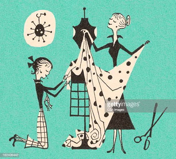 women making dress - mannequin stock illustrations, clip art, cartoons, & icons