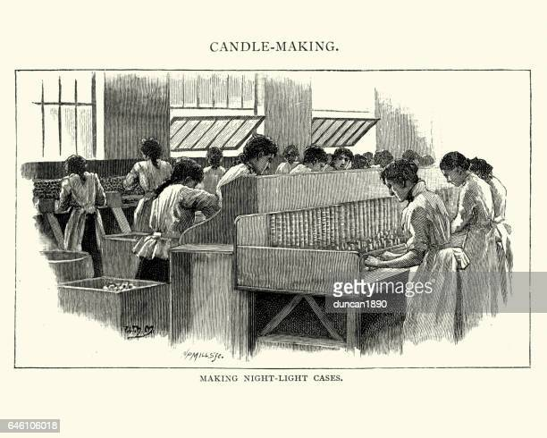 Women making night light cases in 19th Century candle factory