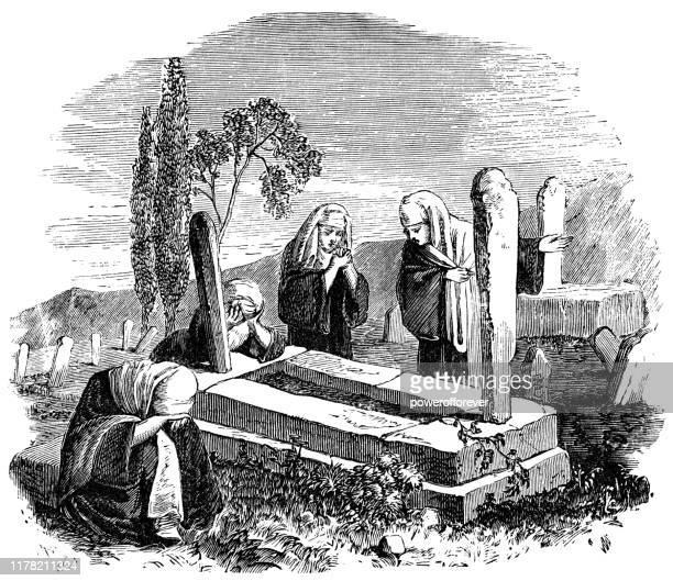 stockillustraties, clipart, cartoons en iconen met vrouwen betaalden om te treuren over graven in sidon, libanon-ottomaanse rijk 19e eeuw - ottomane