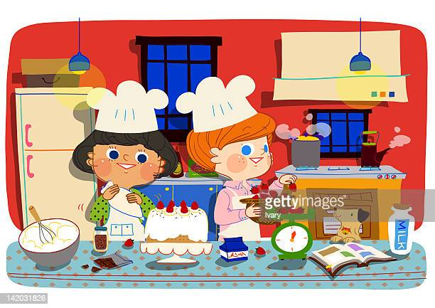 women preparing cake in kitchen - making a cake stock illustrations, clip art, cartoons, & icons