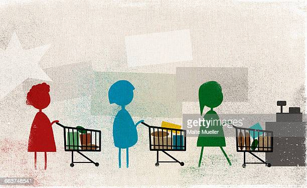 women standing in row with shopping carts at supermarket - consumerism stock illustrations