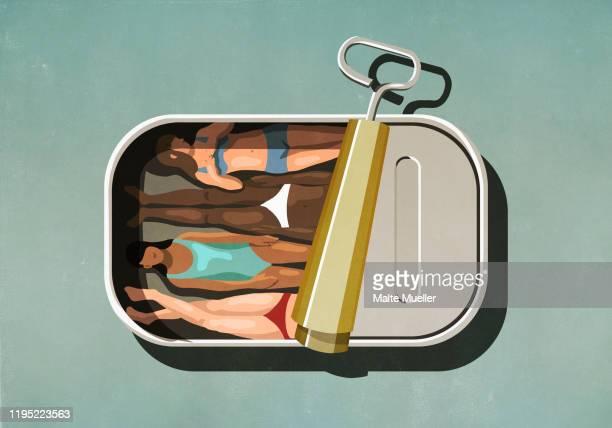 illustrations, cliparts, dessins animés et icônes de women sunbathing inside sardine can - bain de soleil