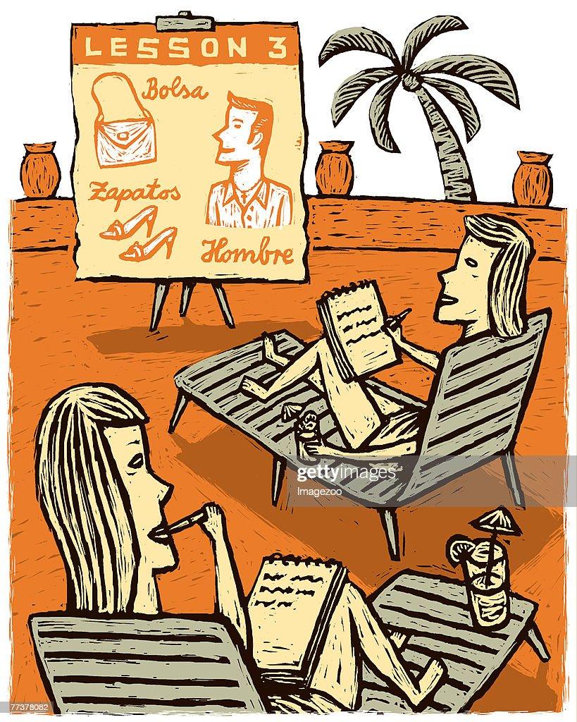 women taking spanish lessons : Illustration