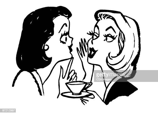 women talking over coffee - friendship stock illustrations