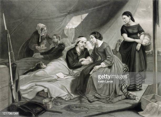 women tending to wounded soldiers - civil war stock illustrations