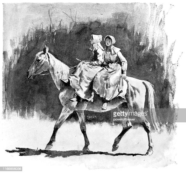 women traveling by horseback through the allegheny mountains in virginia, united states - 19th century - one animal stock illustrations