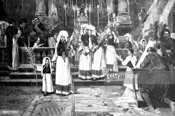 women with palm branches move into church - palm sunday stock illustrations
