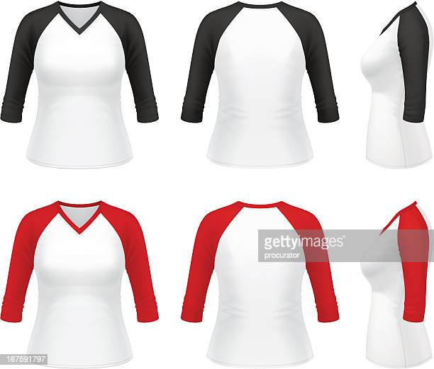 Women's 3/4 sleeve V-neck raglan t-shirt