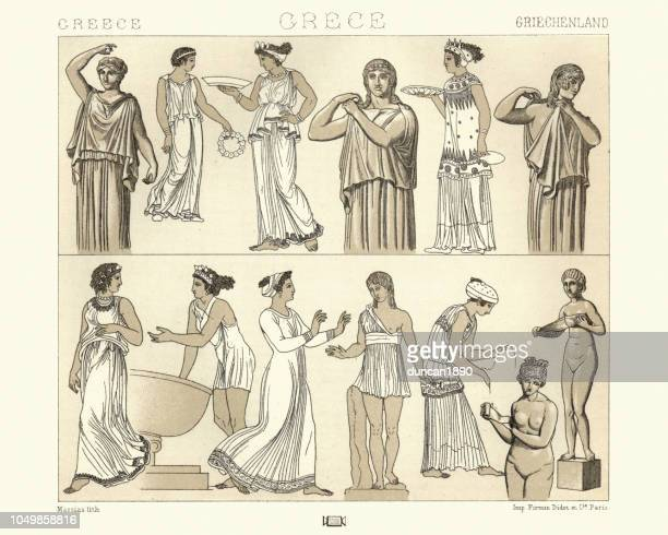 womens costumes of ancient greece, tunics, esphorion, chitons - greek people stock illustrations, clip art, cartoons, & icons