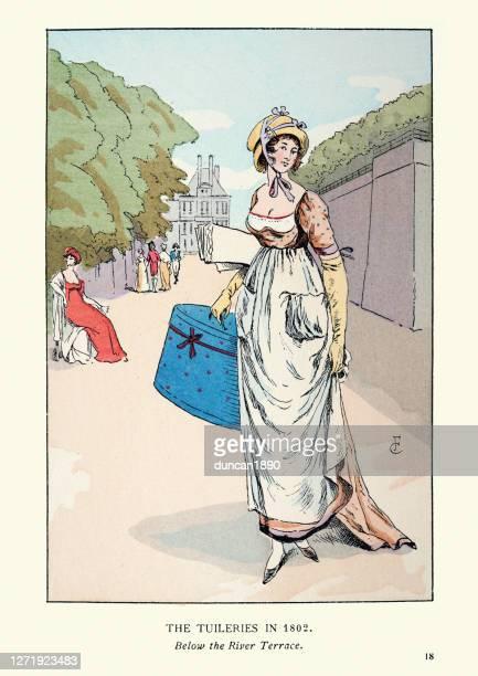 19世紀初頭の女性ファッション、ハイウエストドレス、ボンネット、ハットボックス - 1800~1809年点のイラスト素材/クリップアート素材/マンガ素材/アイコン素材