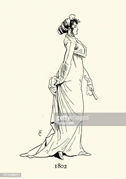 19世紀初頭の女性のファッション、ハイウエストドレス、1802年 - ジョージア調点のイラスト素材/クリップアート素材/マンガ素材/アイコン素材